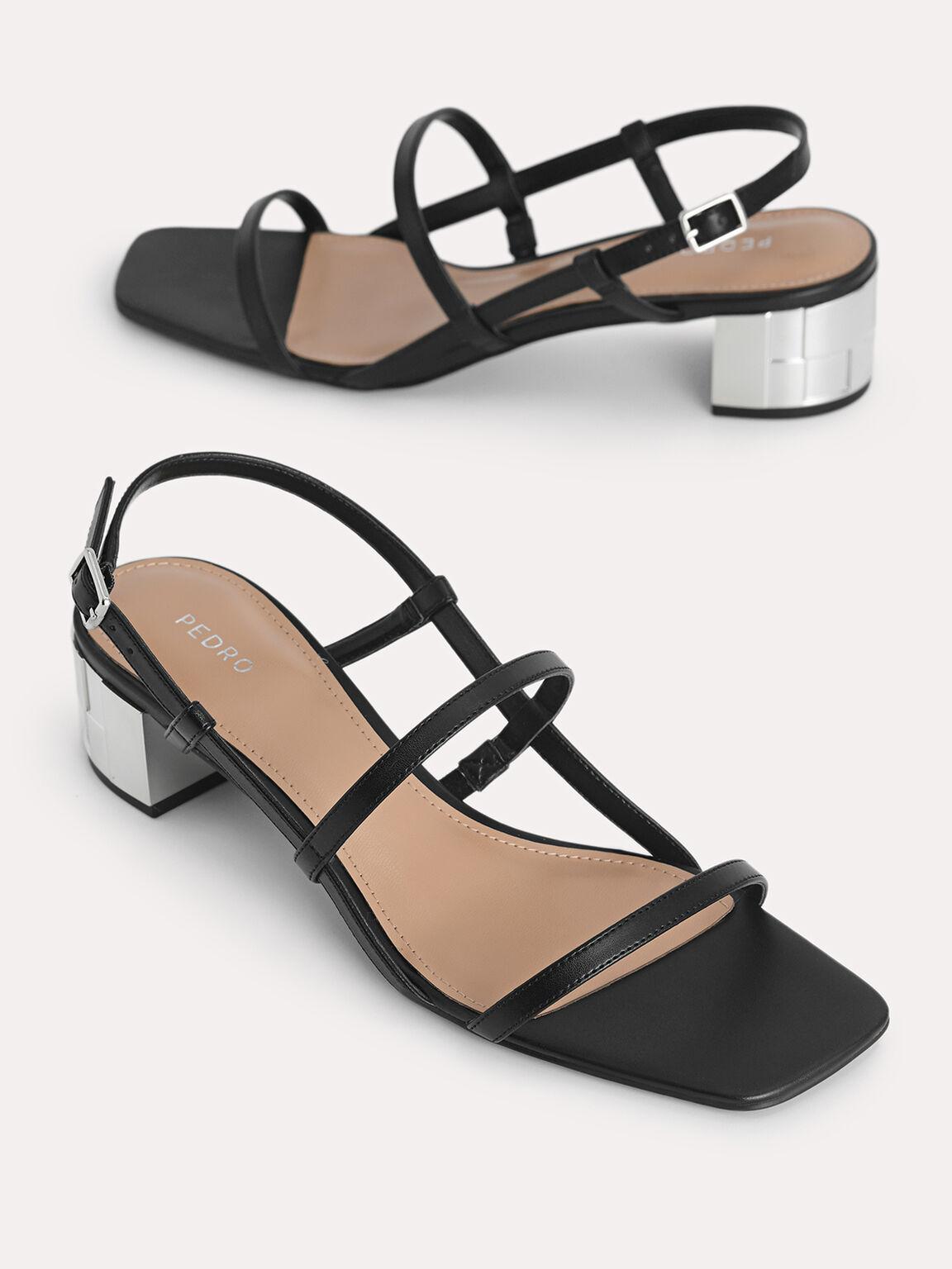 Square-Toe Caged Heeled Sandals, Black, hi-res