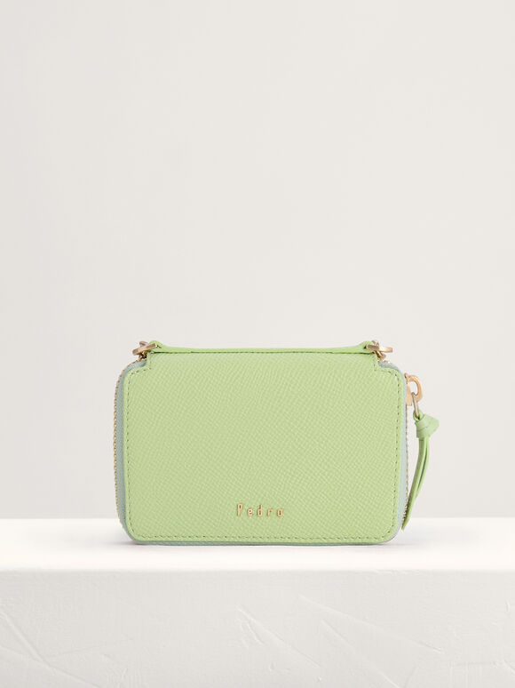 Leather Zip Wallet, Light Green, hi-res