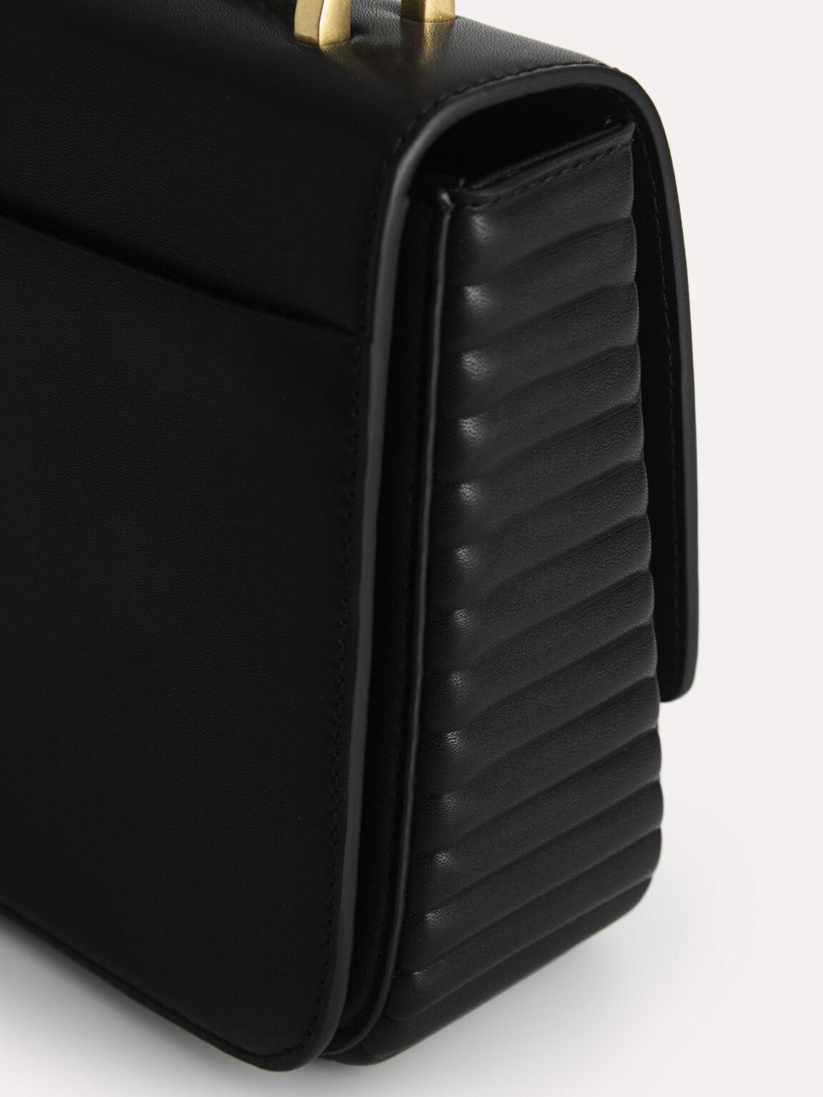 Structured Shoulder Bag, Black, hi-res