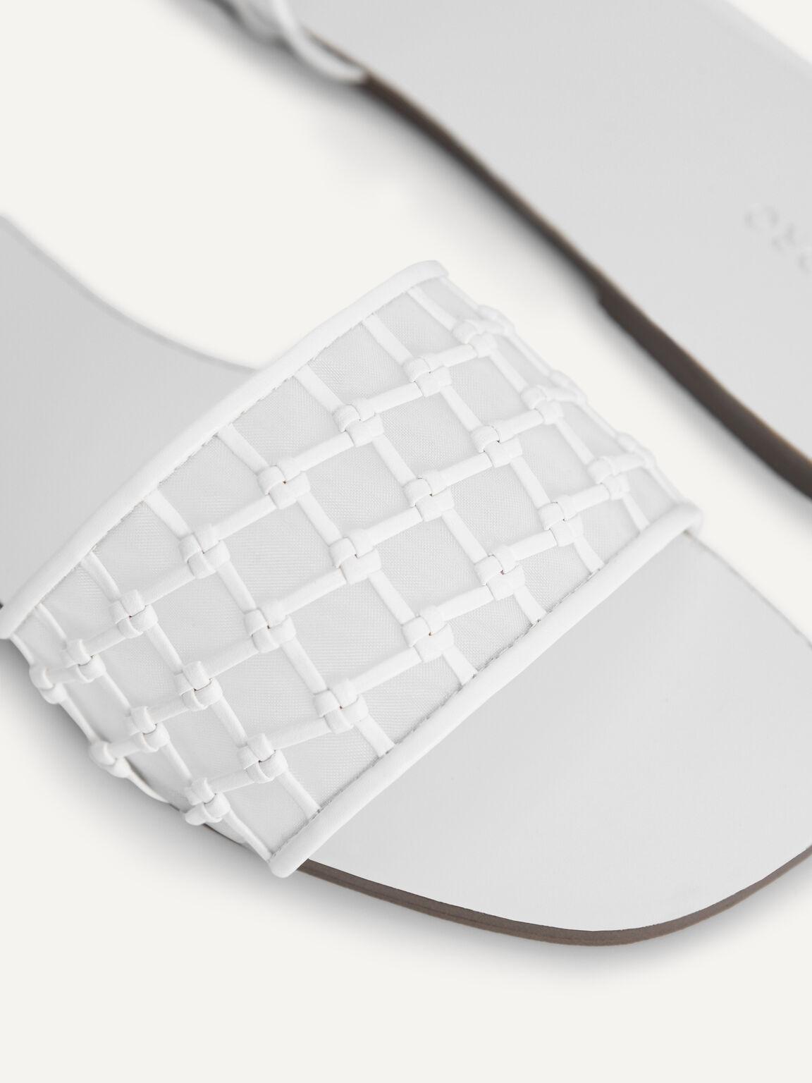 Woven Mesh Slide Sandals, White, hi-res