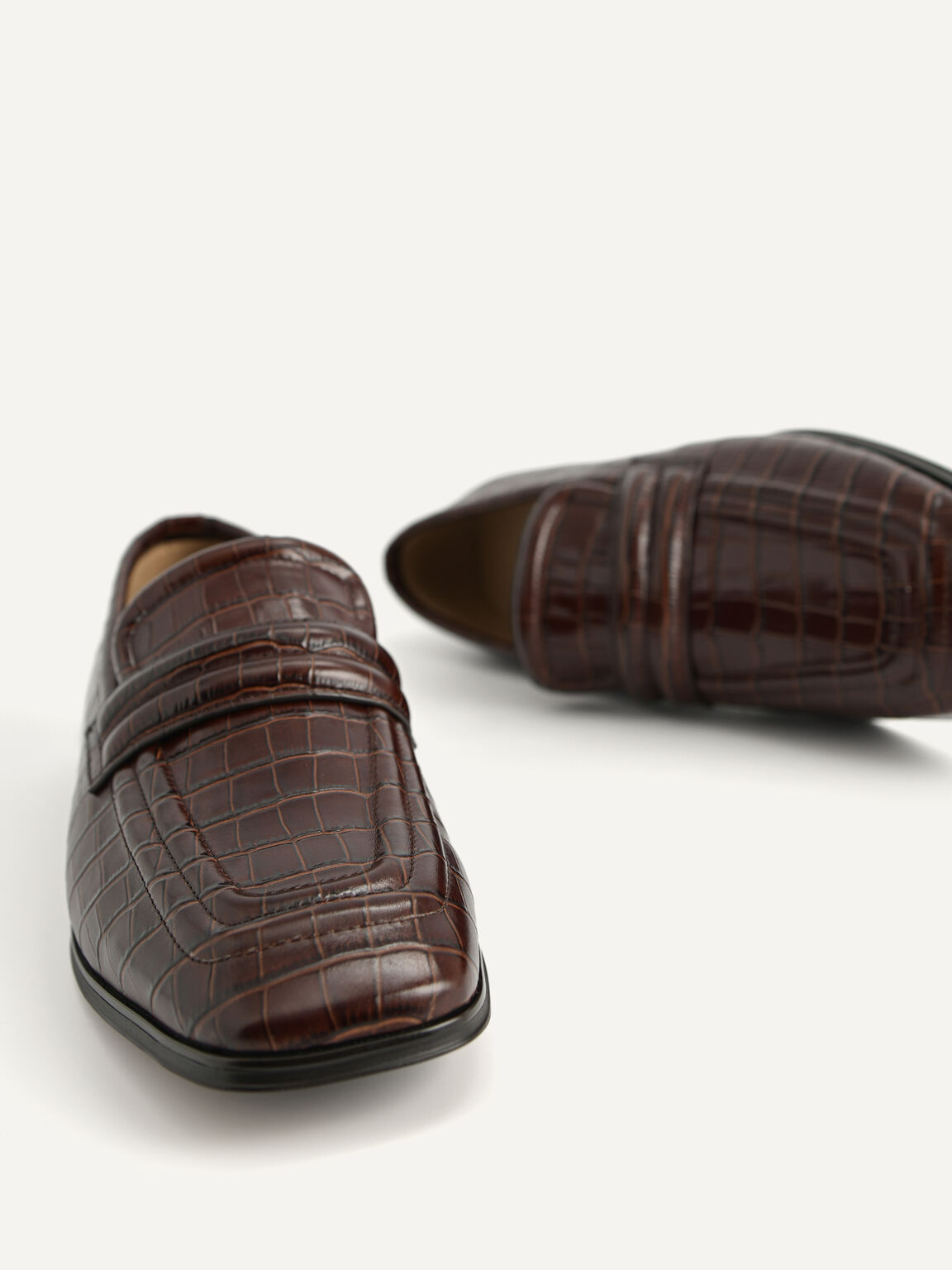 Croc-Effect Leather Loafers, Dark Brown, hi-res