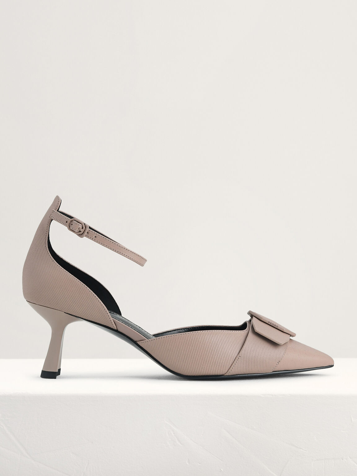 Textured Leather Slingback Pumps, Taupe, hi-res