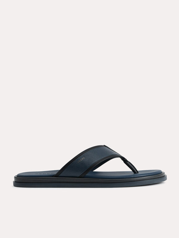 Two-Tone Thong Sandals, Navy, hi-res