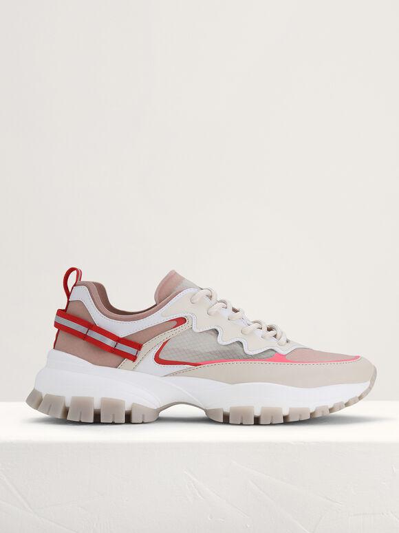 Casual Mesh Sneakers, Cream, hi-res