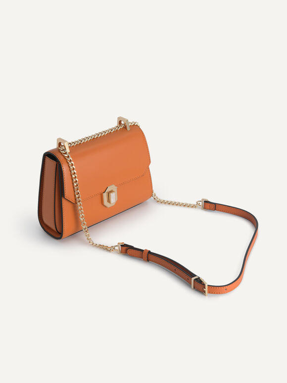 Leather Shoulder Bag, Cognac, hi-res