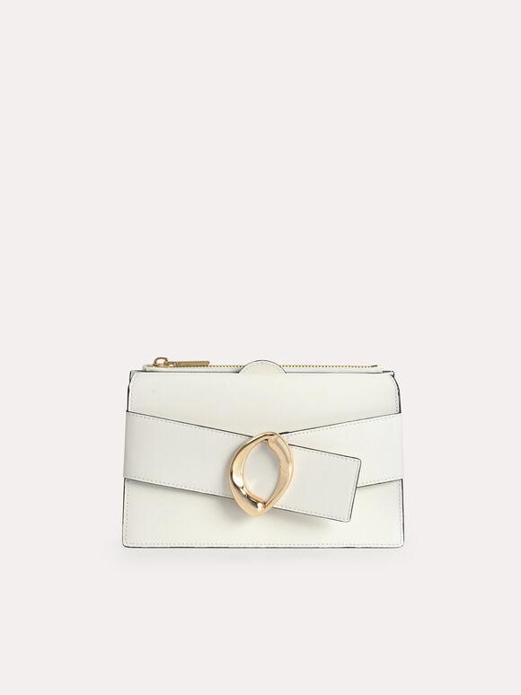 Textured Leather Shoulder Bag, White, hi-res