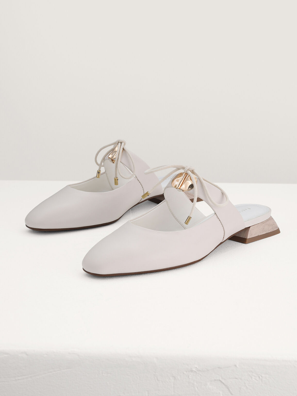 Leather Bow Mules, Chalk, hi-res
