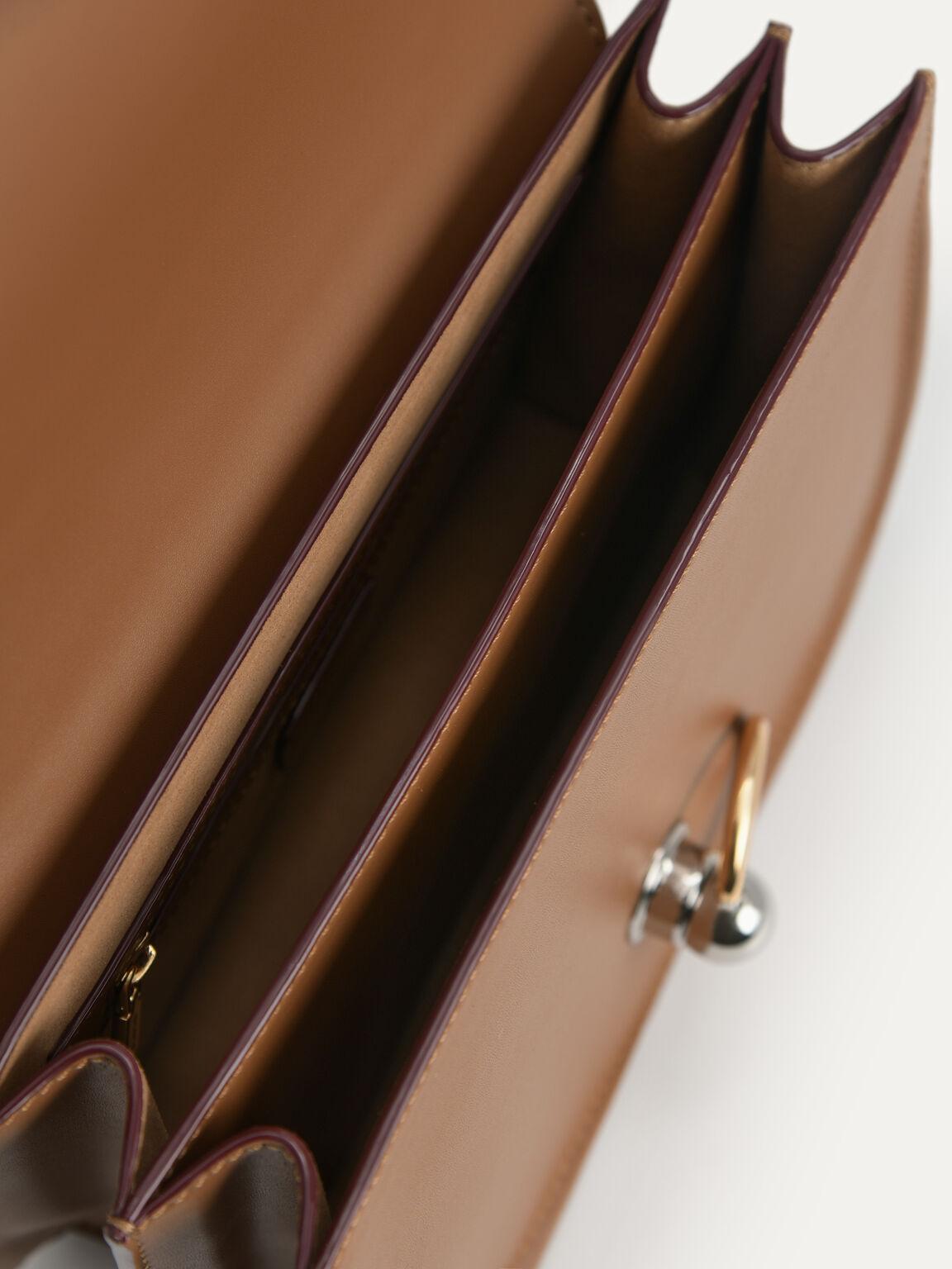 Leather Shoulder Bag, Brown, hi-res