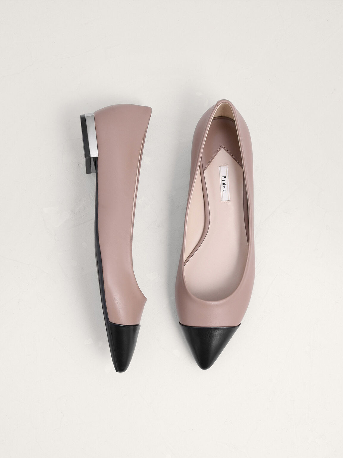 Leather And Satin Cap Toe Ballerina, Taupe, hi-res