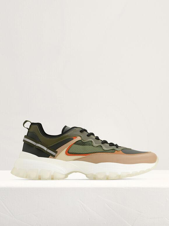 Chunky Mesh Sneakers, Military Green, hi-res