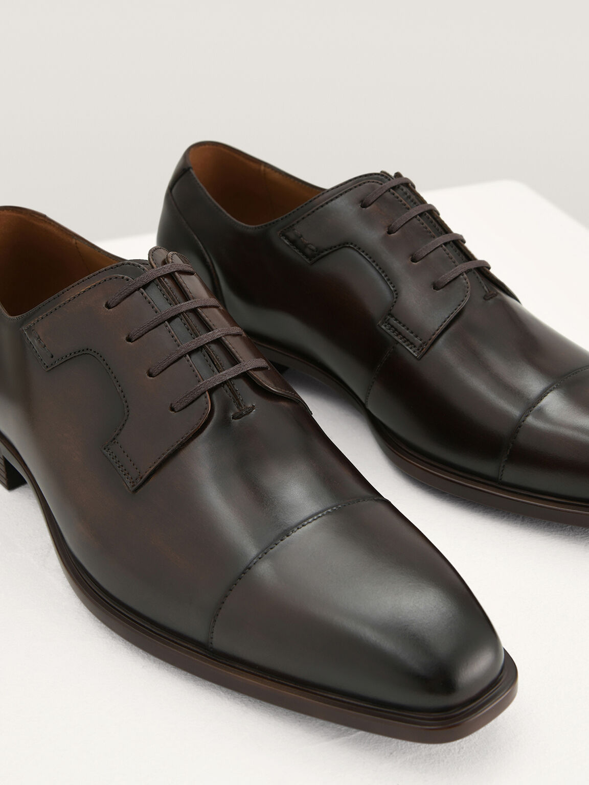 Pointed Toe Leather Derby Shoes, Light Brown, hi-res