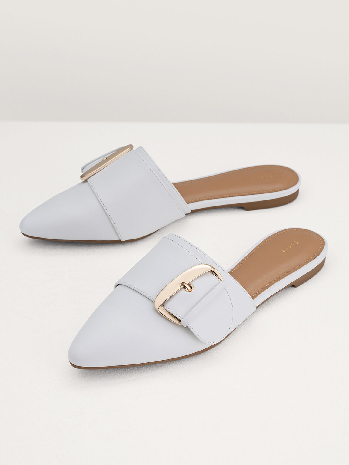 Leather Buckled Mules, White, hi-res