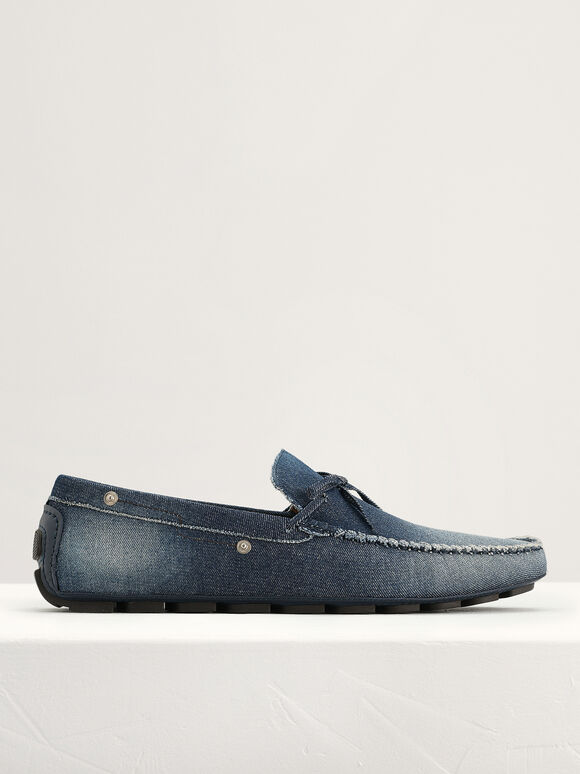 Bow-Detailed Moccasins, Navy, hi-res