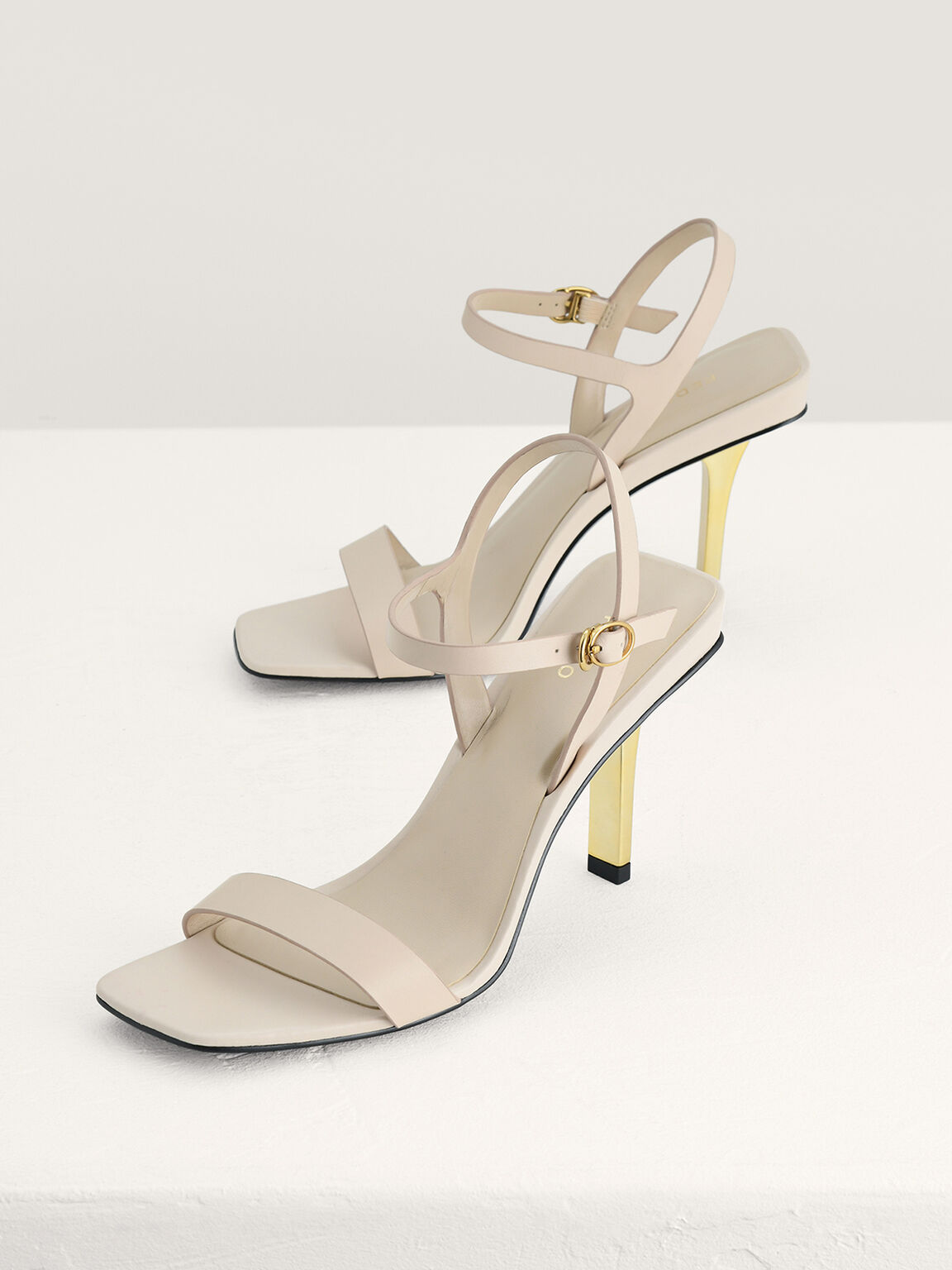 Leather High Heel Sandals, Cream, hi-res