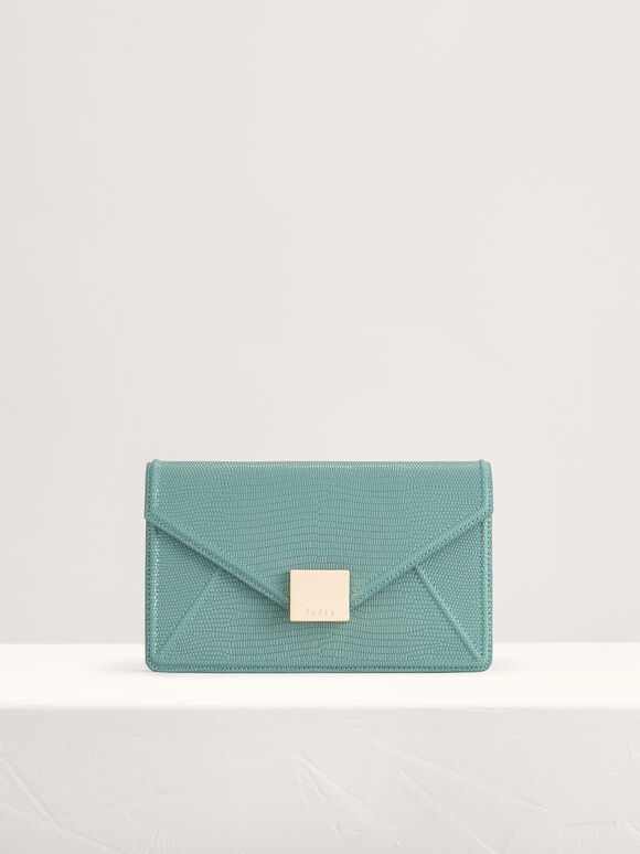 Lizard-Effect Leather Shoulder Bag, Turquoise, hi-res
