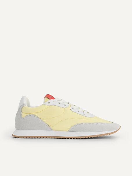 Nylon Leather Casual Sneakers, Light Yellow, hi-res