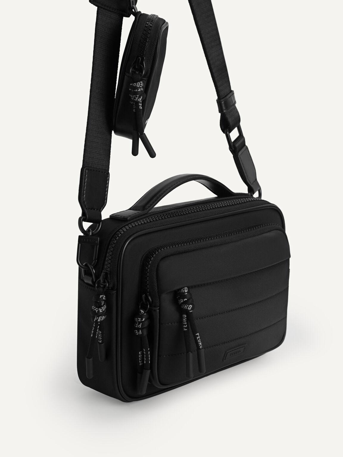 Nylon Sling Bag, Black, hi-res