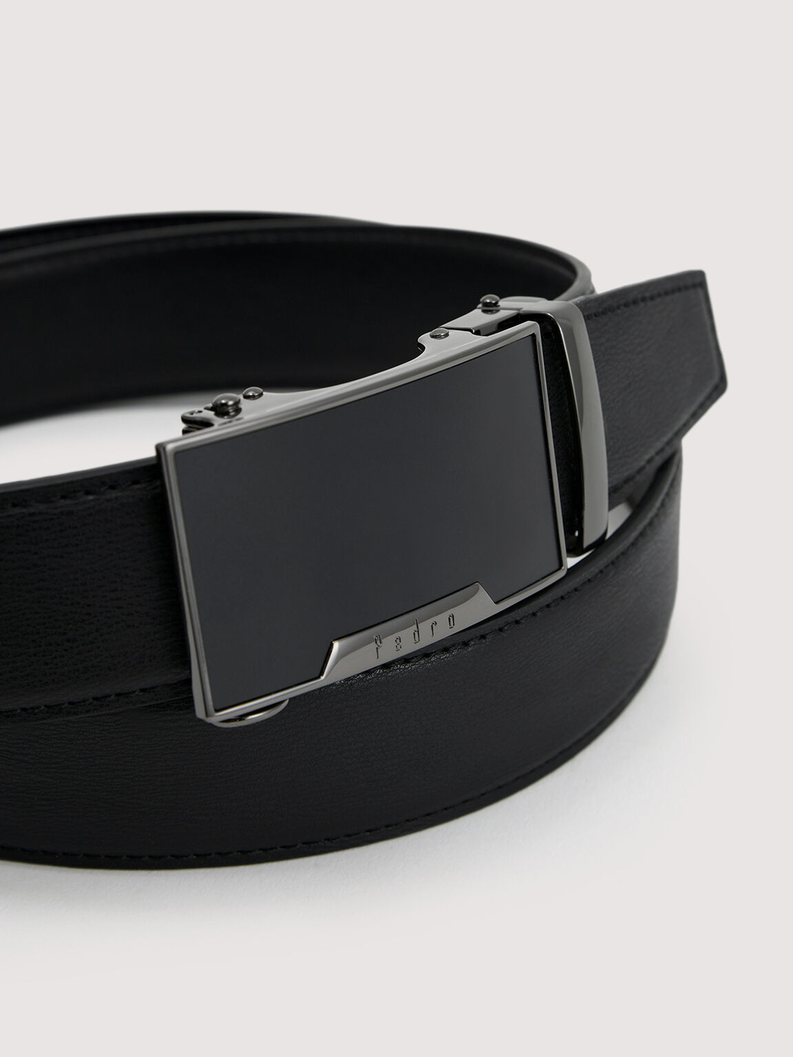 Leather Automatic Tang Belt, Black, hi-res