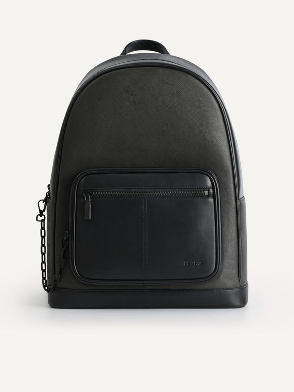 Structured Chain Backpack, Black, hi-res