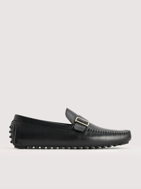 Buckled Leather Moccasin, Black, hi-res
