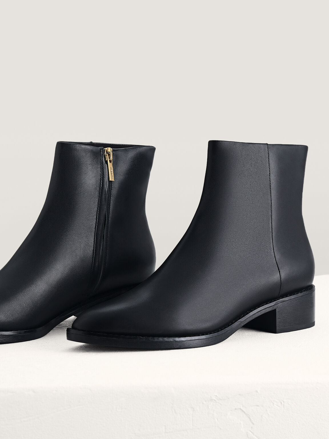 Leather Ankle Boots, Black, hi-res