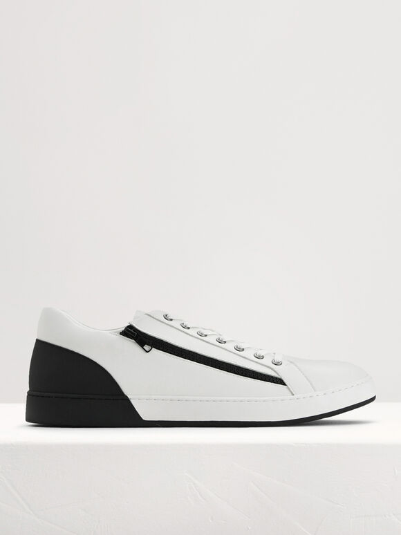 Zip-On Court Sneakers, Black, hi-res