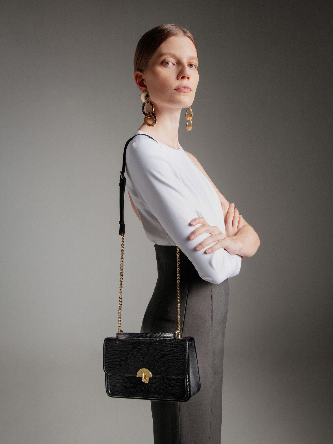Embossed Leather Shoulder Bag, Black, hi-res