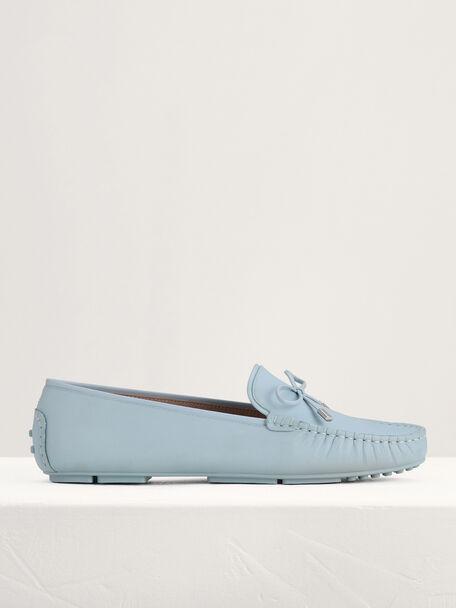 Leather Bow Moccasins, Light Blue, hi-res