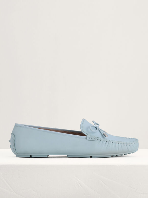 Leather Bow Moccasins, Light Blue, hi-res