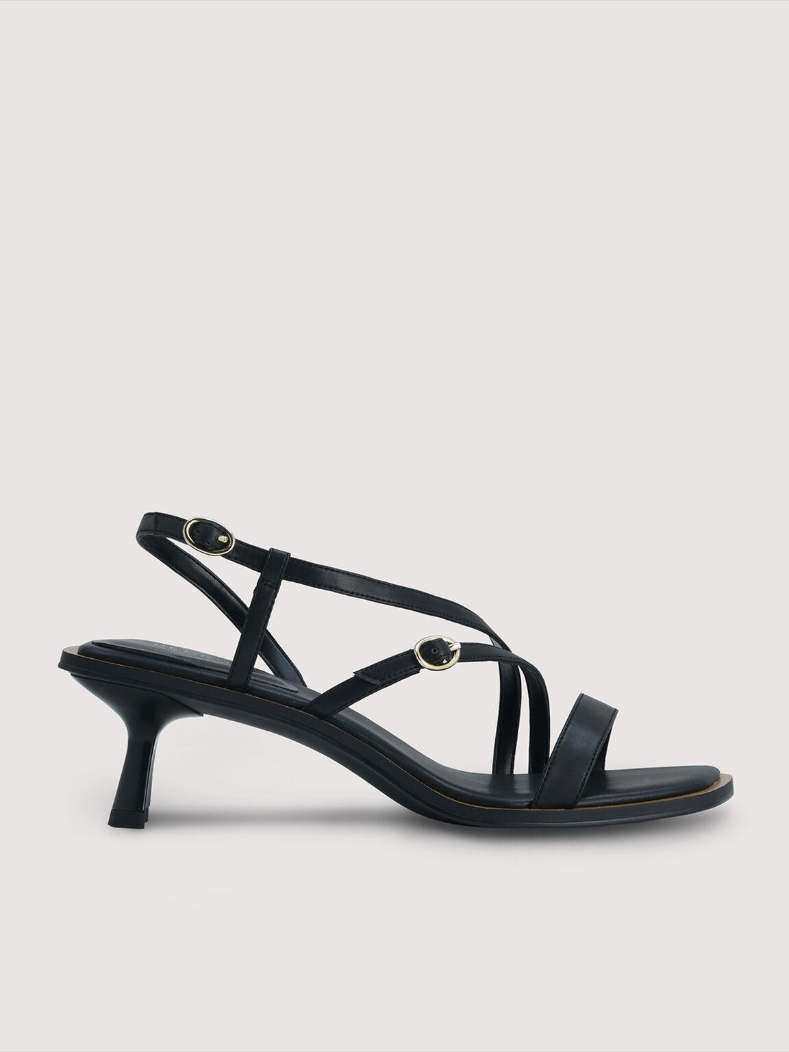 Strappy Heel Sandals, Black, hi-res