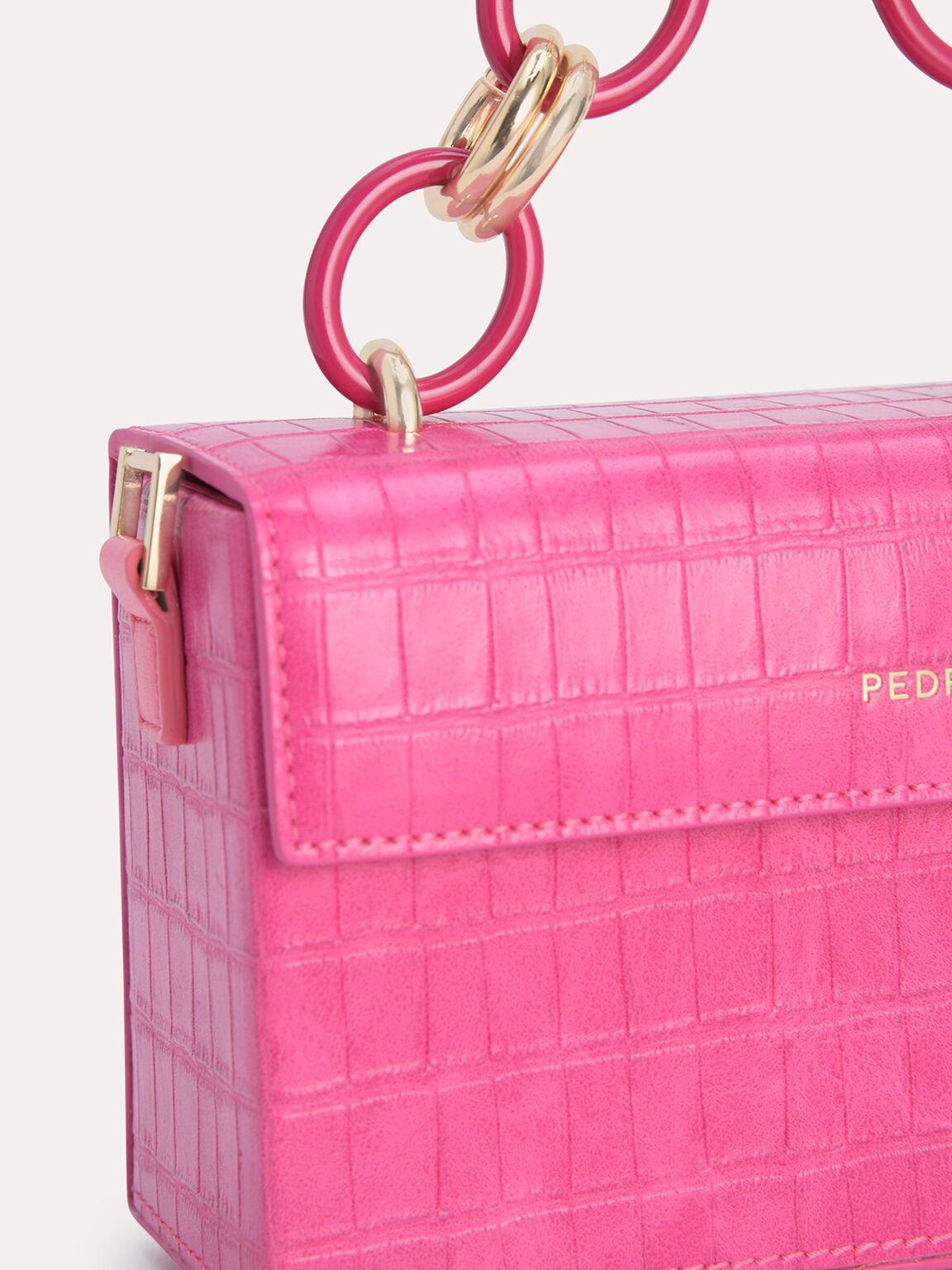Croc-Effect Boxy Shoulder Bag, Fuchsia, hi-res