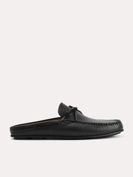 Textured Leather Slip-On Loafers, Black, hi-res