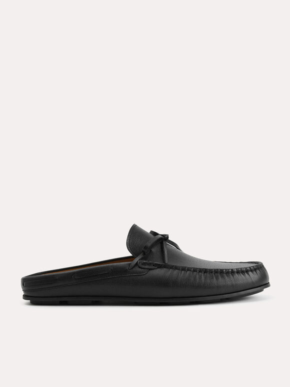 Textured Leather Slip-On Loafers, Black, hi-res
