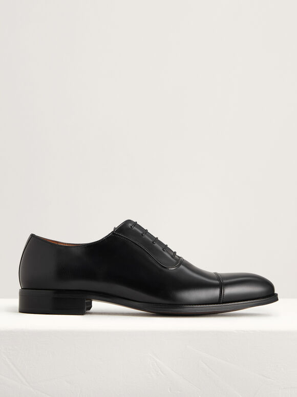 Pointed Cap Toe Leather Oxfords, Black, hi-res