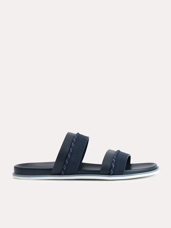 Double Strap Sandals, Navy, hi-res