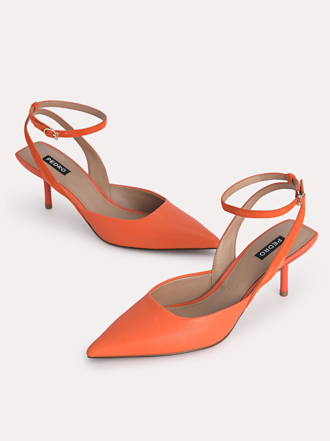 Leather Pointed Toe Pumps, Orange, hi-res