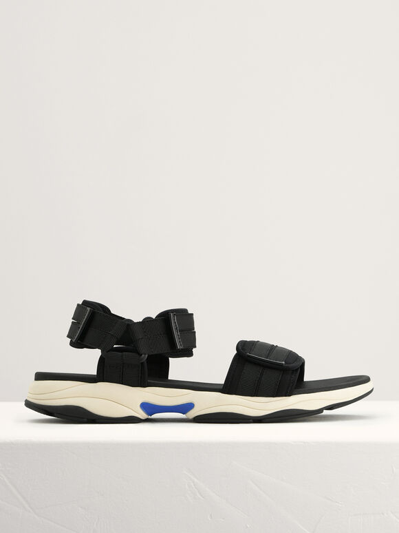 Chunky Strapped Sandals, Black, hi-res
