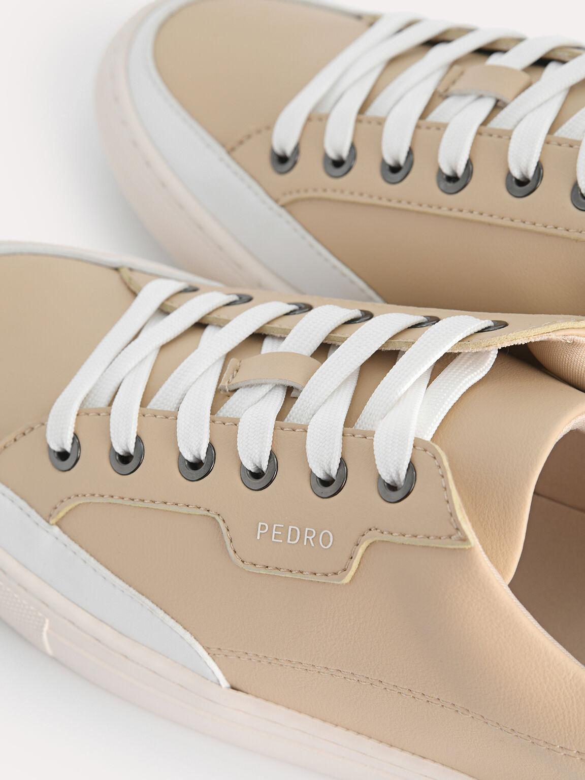 休閒運動球鞋帶奶牛印花細節, 沙色, hi-res