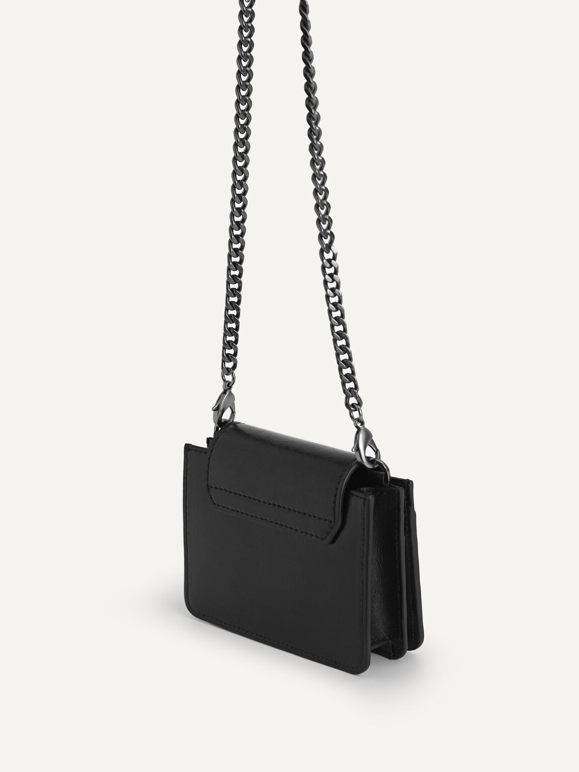 Leather Pouch with Chain Handle, Black, hi-res