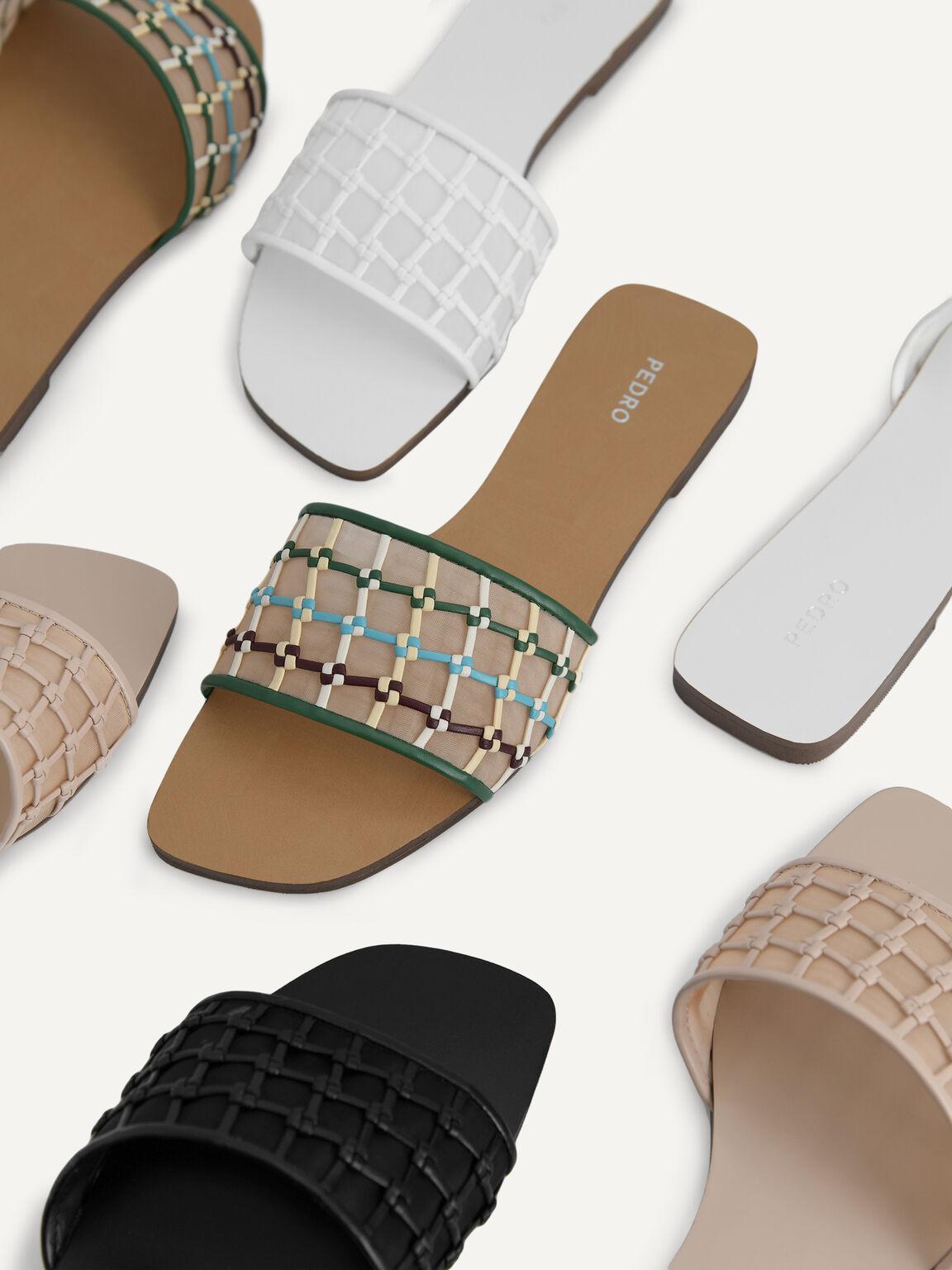 編織網眼滑塊涼鞋, 裸色, hi-res