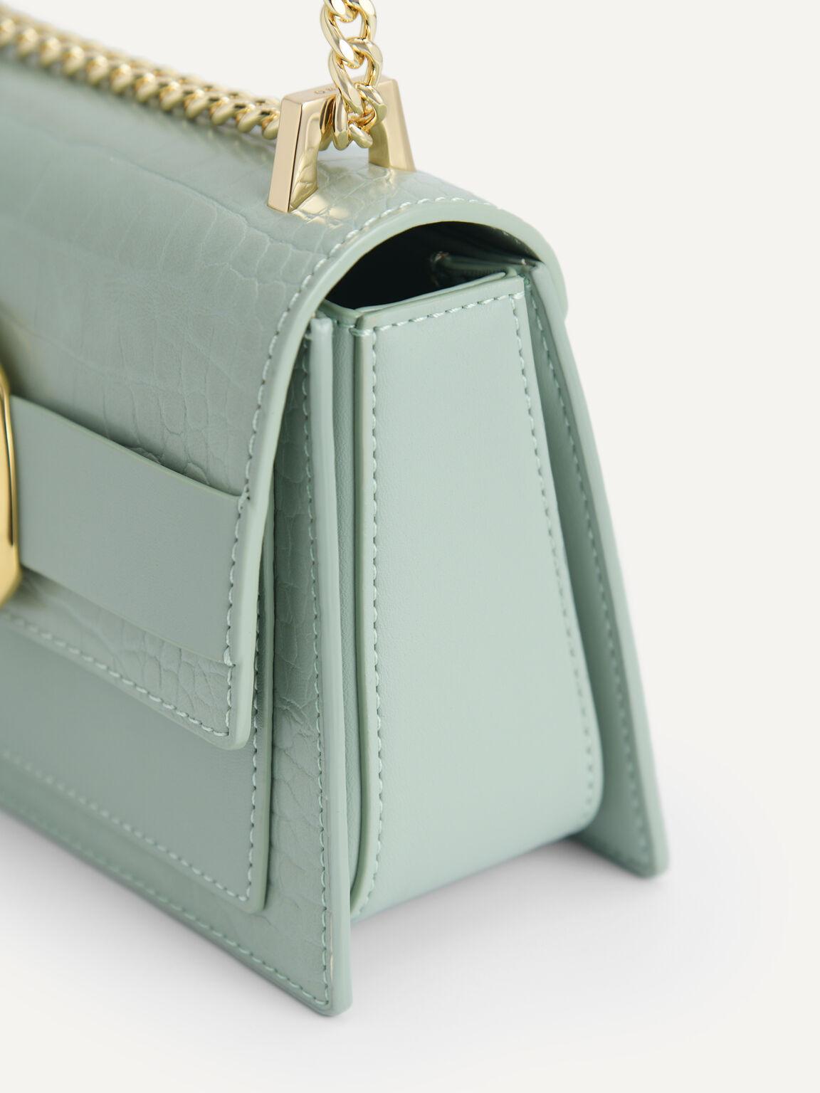 Snake-Effect Shoulder Bag, Light Green, hi-res