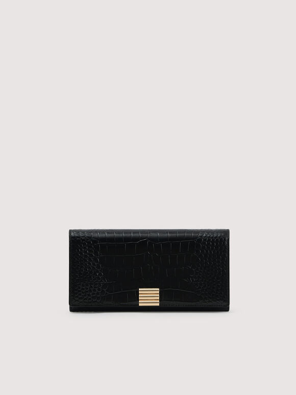 Embossed Leather Wallet On Chain, Black, hi-res