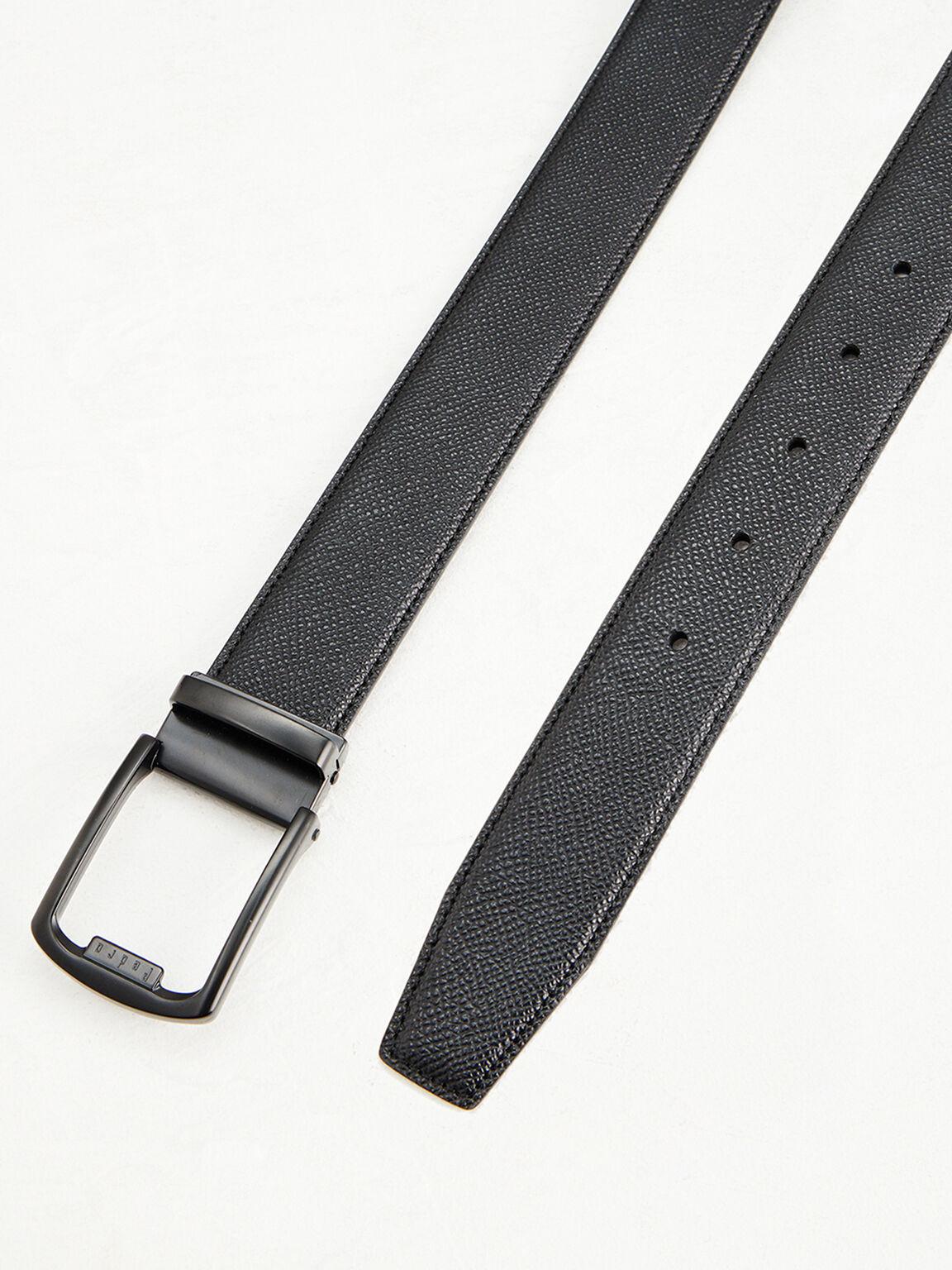 Embossed Leather Tang Belt, Black, hi-res
