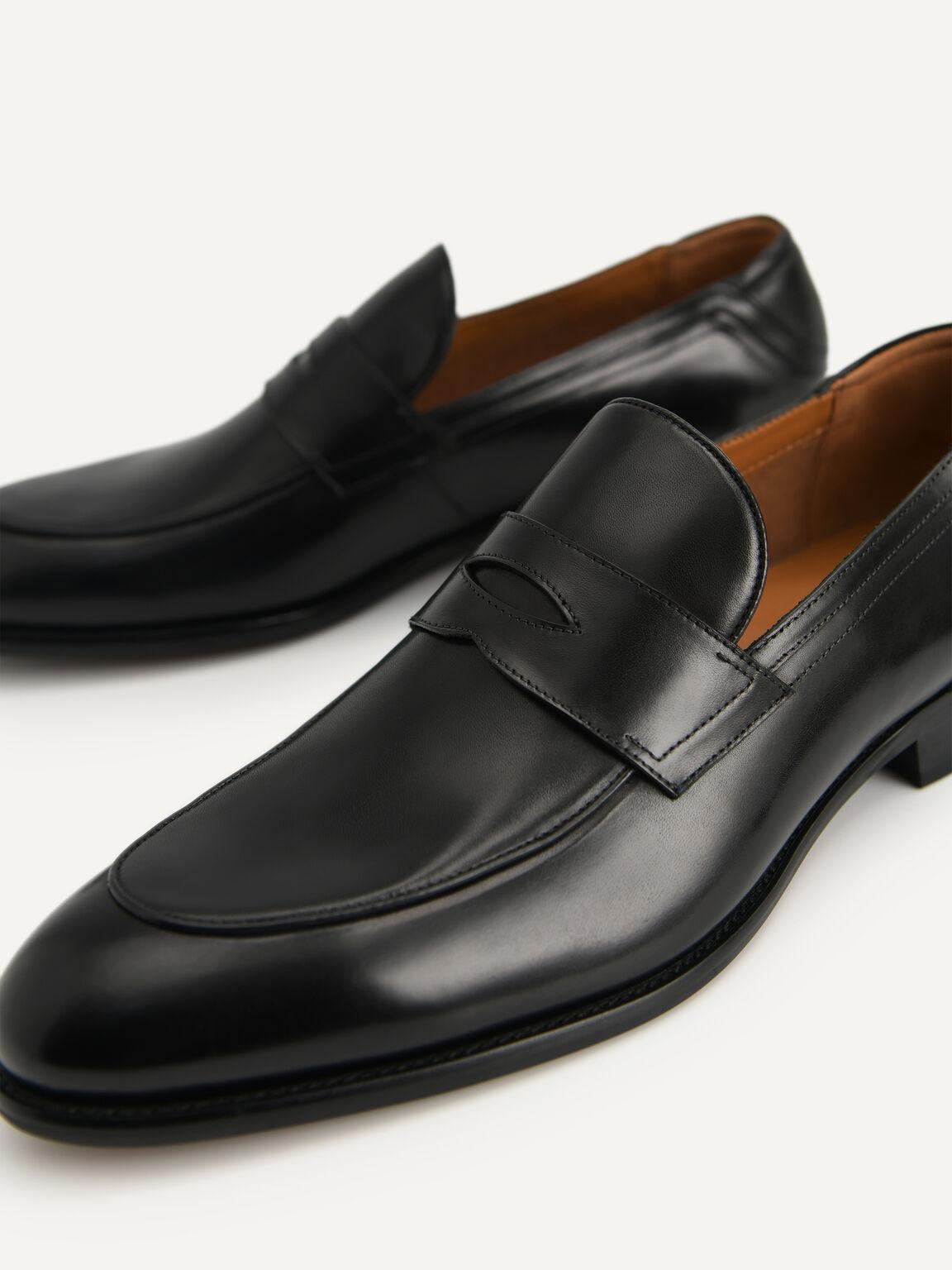 皮革便士樂福鞋, 黑色, hi-res