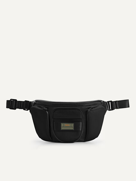 Multipocketed Nylon Sling Pouch, Black, hi-res
