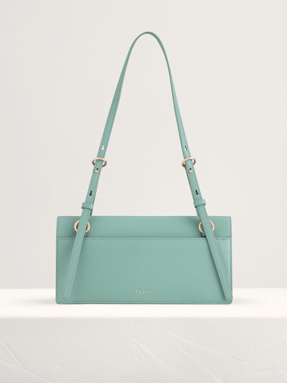 Belt Detailed Shoulder Bag, Green, hi-res