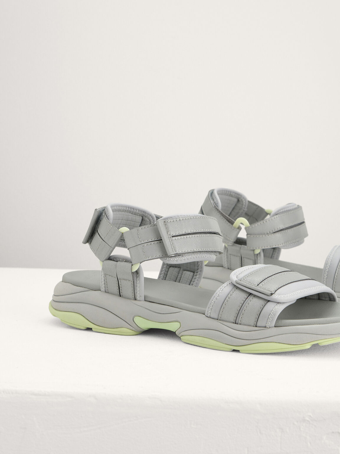 Chunky Strapped Sandals, Light Grey, hi-res