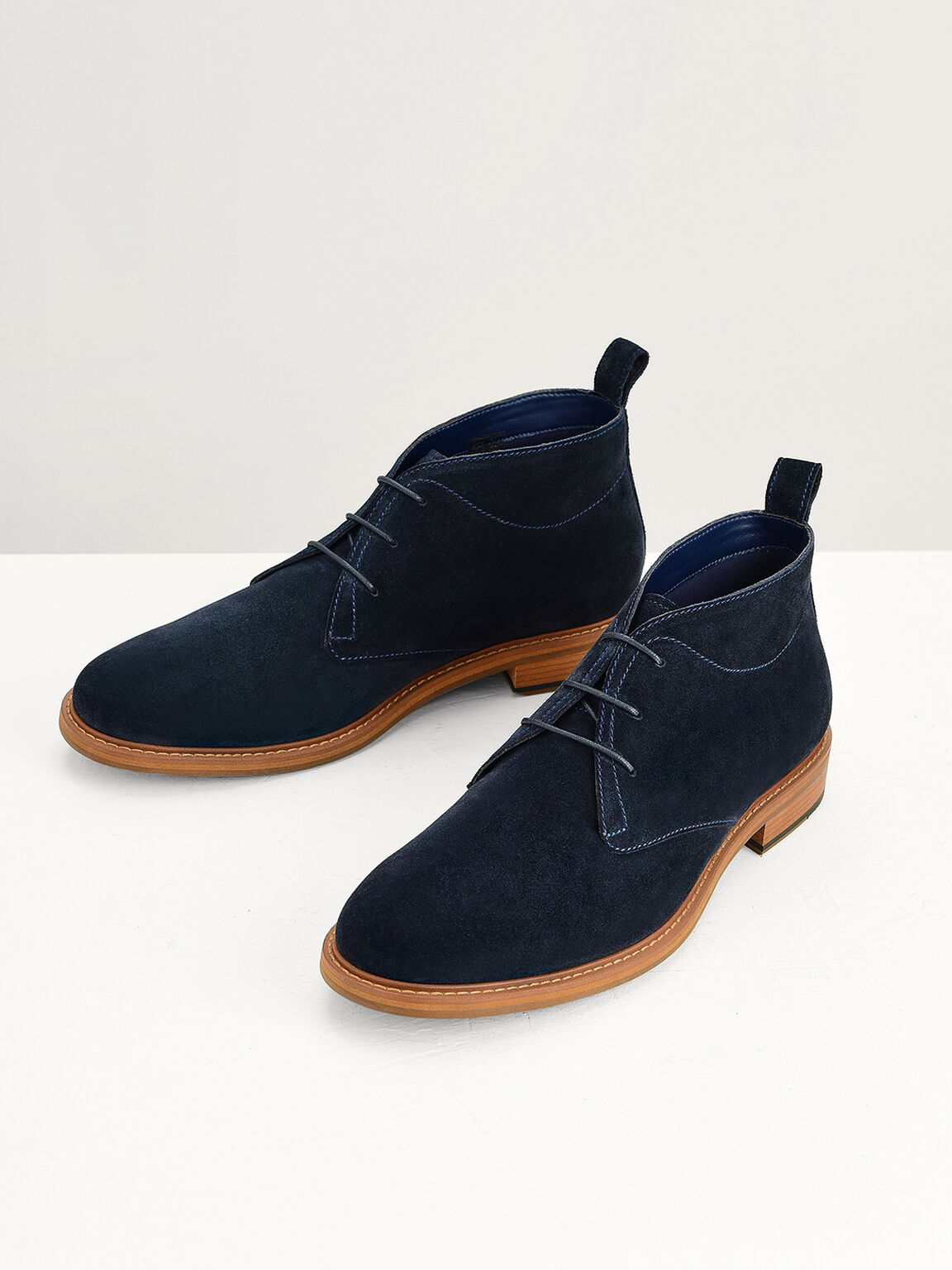 Calf Suede Ankle Boots, Navy, hi-res