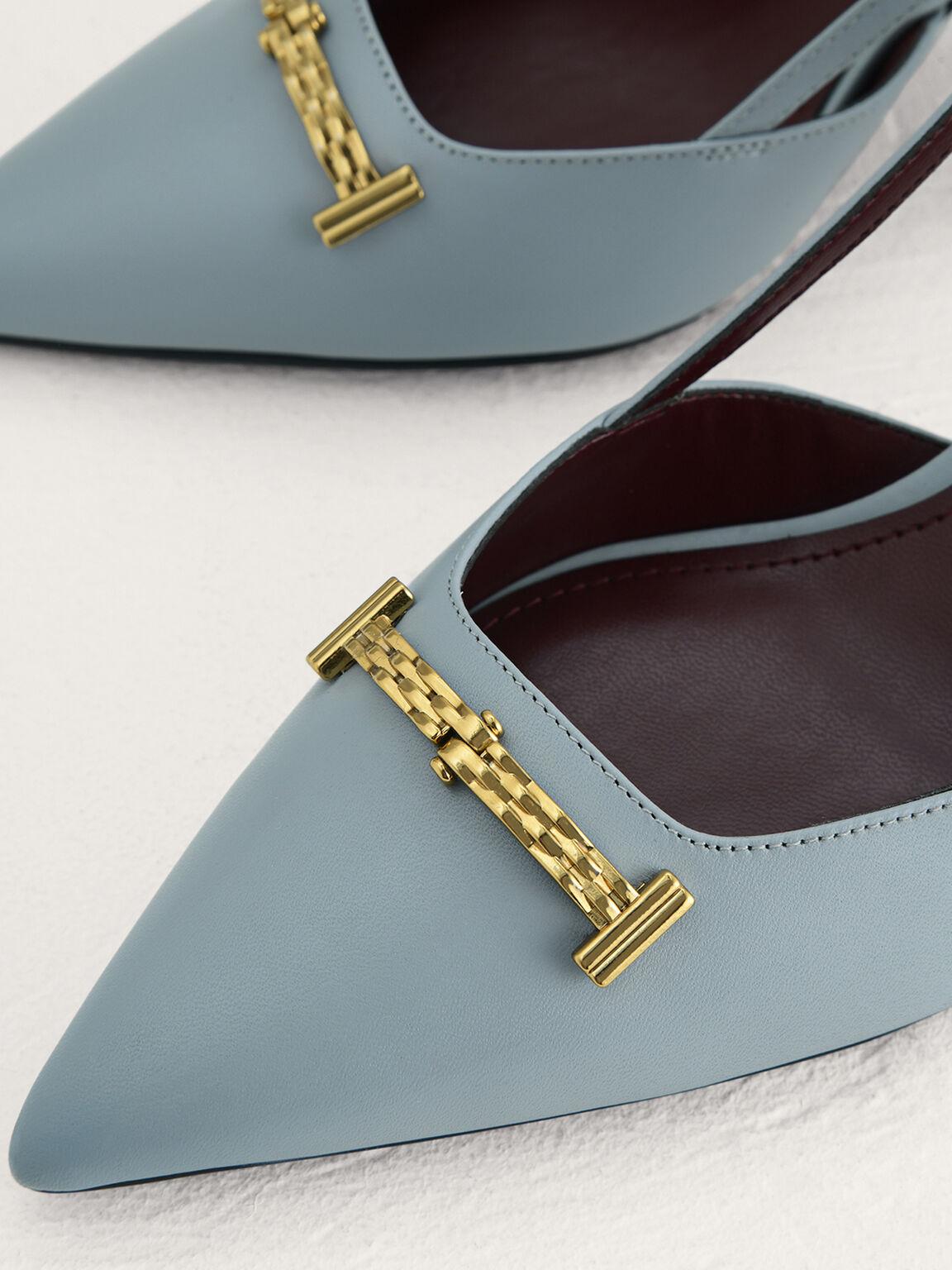 Plaque-Embellished Leather Slingback Pumps, Light Blue, hi-res