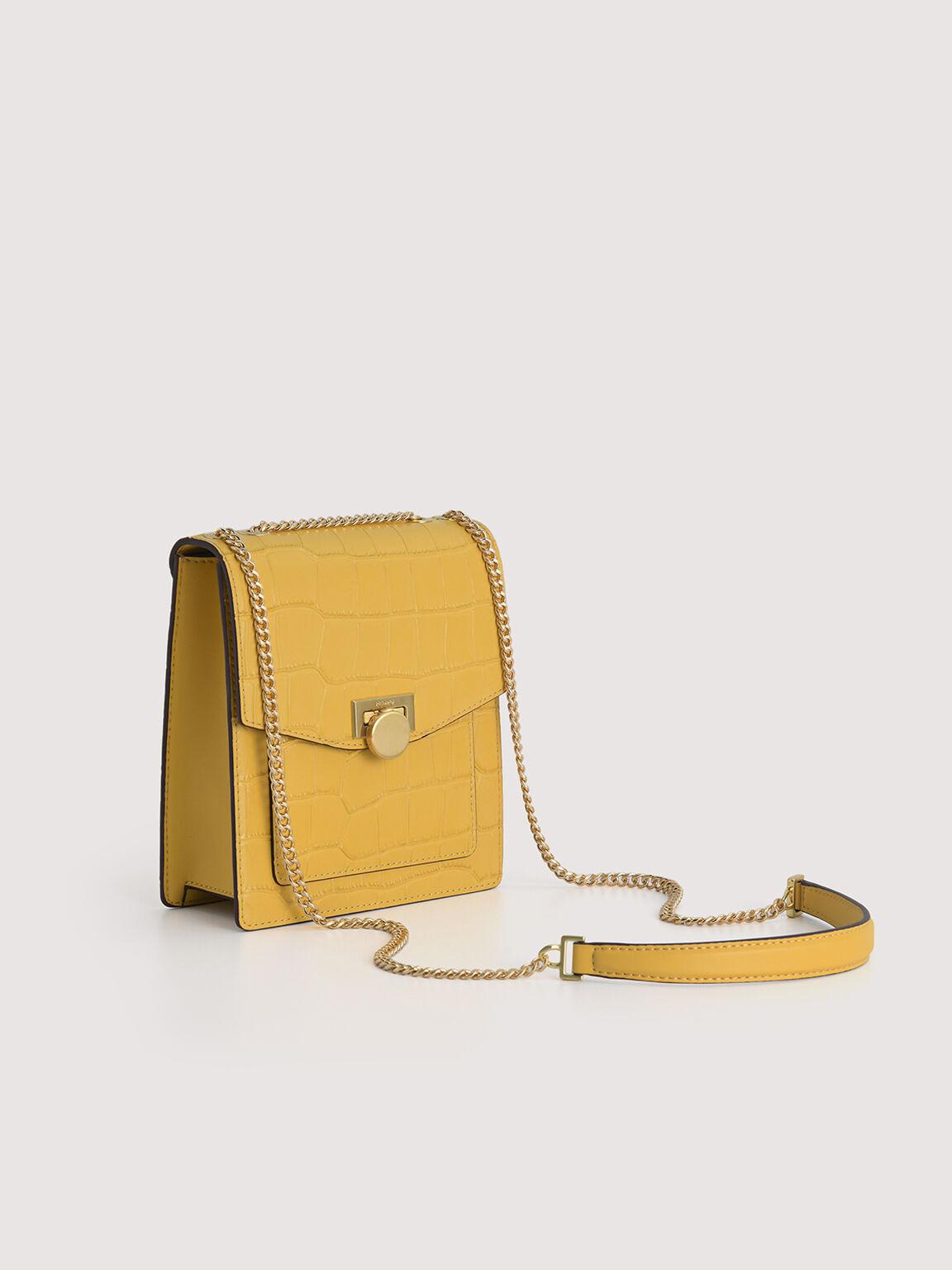 Croc-Effect Leather Shoulder Bag, Yellow, hi-res